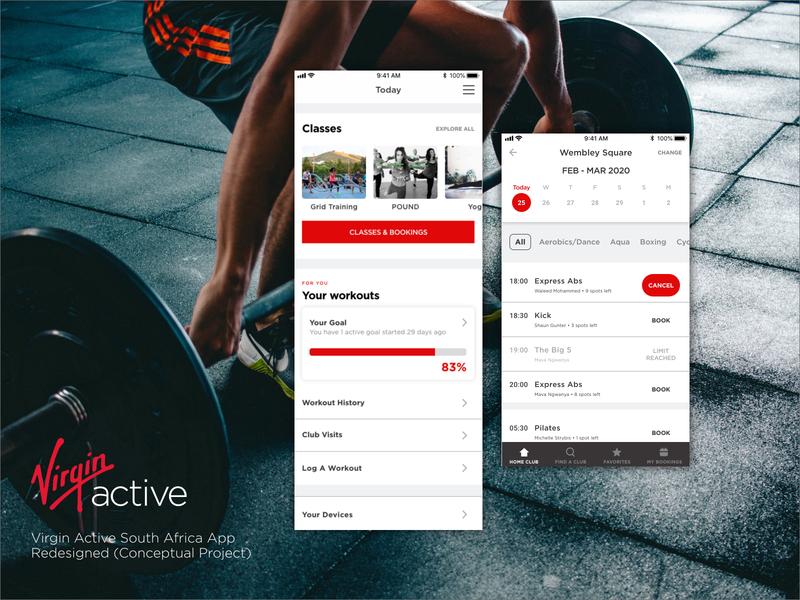 Virgin Active App Redesign schedule excercise mobile design mobile ui redesign concept