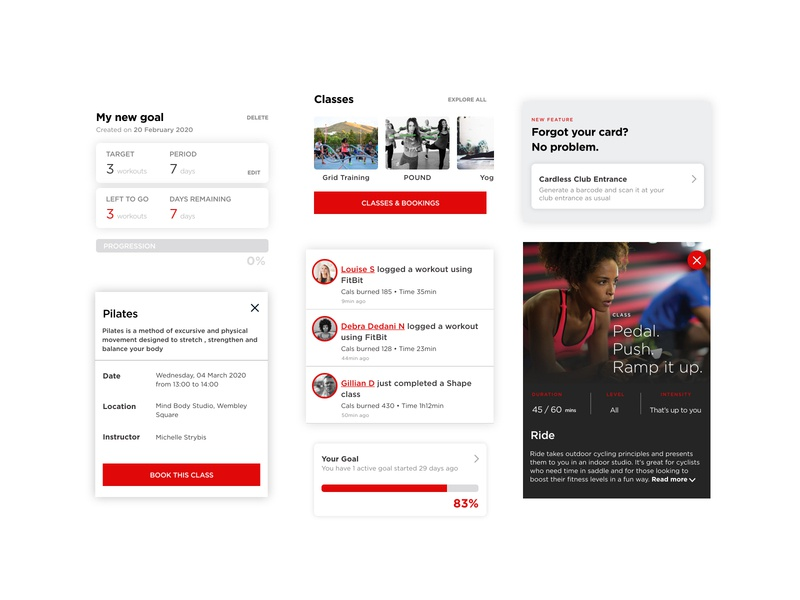 Virgin Active App Redesign - Selected Components redesign redesign concept excercise mobile ui component design components
