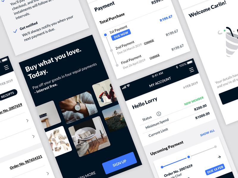 Payment Solutions PWA app design ui