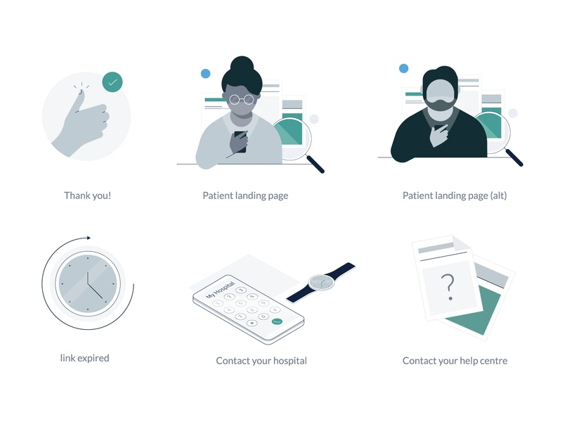 EIDO INFORM Illustrations phone patient expired health app healthcare contact person thank you help onboarding branding minimal icon app identity flat ui illustration design vector