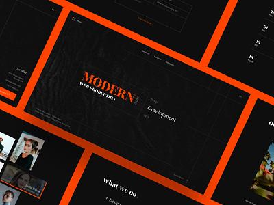 Concept for ModernArt Web Production seo development web studio minimal flat logo black orange typography ui ux web concept design