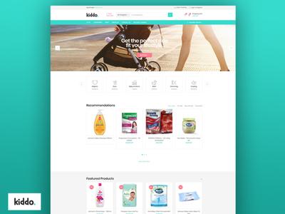 Kiddo – Baby & Kids Shop - Website Design & Development baby shop baby kids shop branding kids ui ux ecommerce waleedsayed illustration website design
