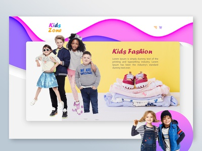 Kids Fashion Website Design kidsstore kidsfashion kidszone kids website ecommerce illustration design