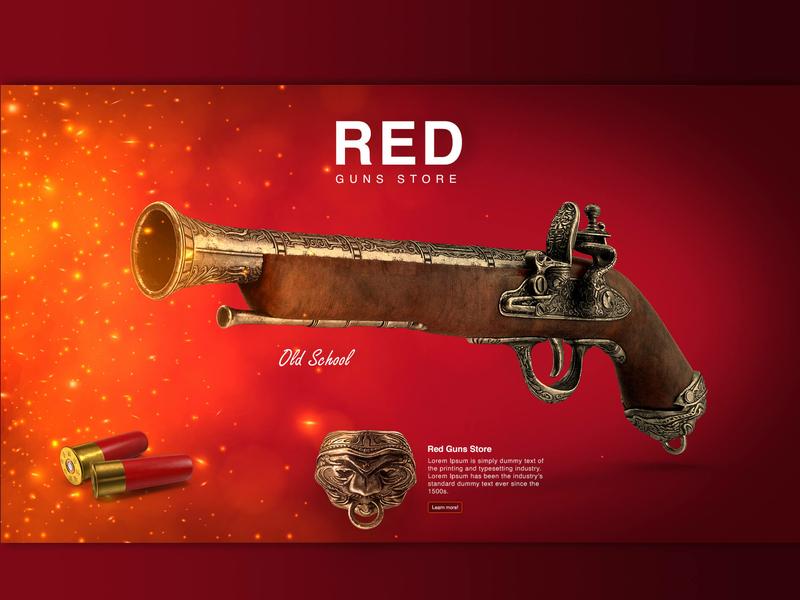 Red Guns Store Website Design waleed sayed waleedsayed graphic design gunsstore redgunsstore redguns red guns design website illustration
