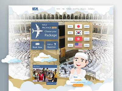 Air 1 Travel Website Design Development travel agent travel air 1 travel japan website design islamic hajj services hajj package umrah hajj japan website ecommerce design waleedsayed illustration