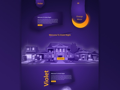 Violet Night for kids - Website Design moon orangemoon orange abudhabi uae kids violetnight violet vector ui waleedsayed illustration website design