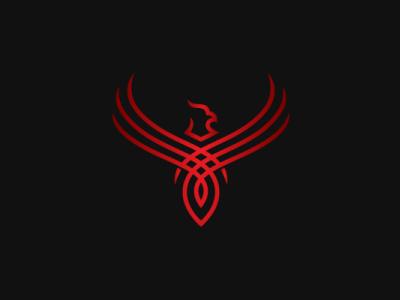 Red Phoenix Logo flame fire phoenix logo strong bird animal modern company brand logo company branding vector branding logo design