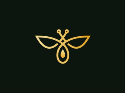 Droplet Honey Bee Logo nature luxury animal modern company brand logo company branding vector branding logo design