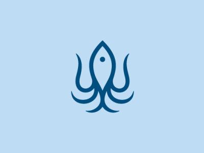 Squid and Fish Logo ocean blue squid fish marine sea animal modern company brand logo company branding vector branding logo design
