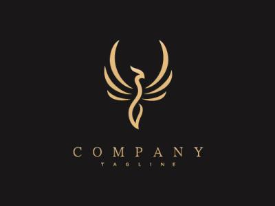 Golden Phoenix Logo luxury bird animal modern company brand logo company branding vector branding logo design