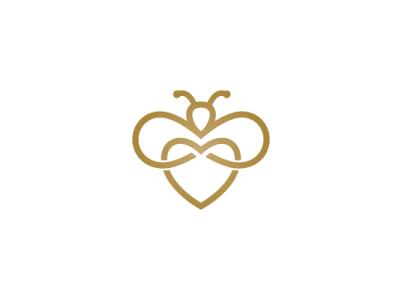 Love Bee Logo insect bee love heart animal modern company brand logo company branding vector branding logo design