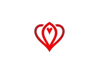 Heart Bloom Logo bloom heart flower nature modern company brand logo company branding vector branding logo design