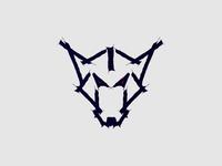 Wet Ink Brush Wolf Head Logo