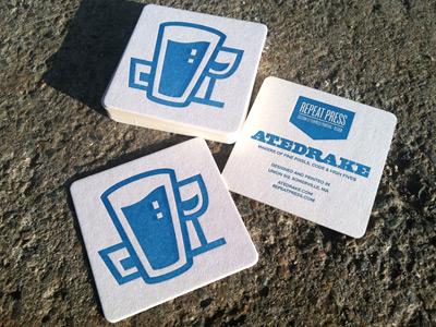 Atedrake & Repeat Press Coasters atedrake blue letterpress coasters forsale youwantthem