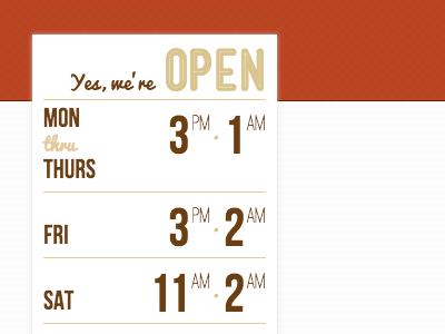 Open Hours open hours typography