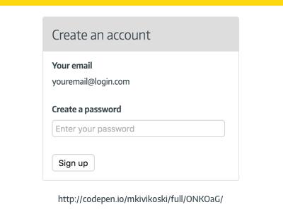 Create Account - Show/Hide Password (working code in low fi) low fidelity password ux login create account password