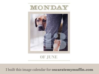 Photo calendar for Oscar Ate My Muffin fun image based functionality dogs calendar