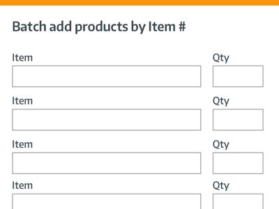 Batch add items - lowfi form. cart batch add modal lowfi
