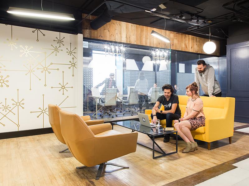 Exchange Installation gold networking collide startup interior design pattern omaha coworking conference brand