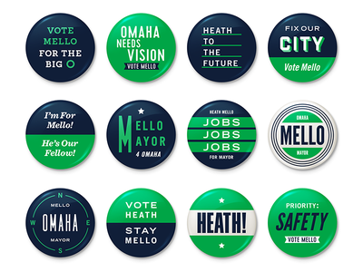 Mello Buttons type identity brand green omaha mayor politics campaign buttons