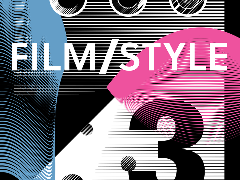 Film/Style 3 pink eye black and white line art cinema film poster