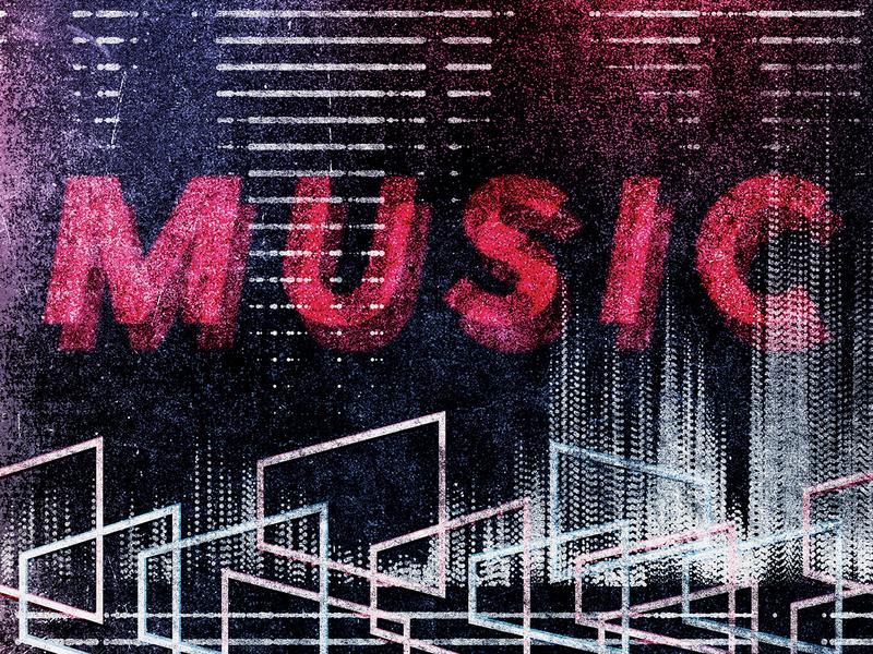 M-U-S-I-C graphic  design sound film music texture grit