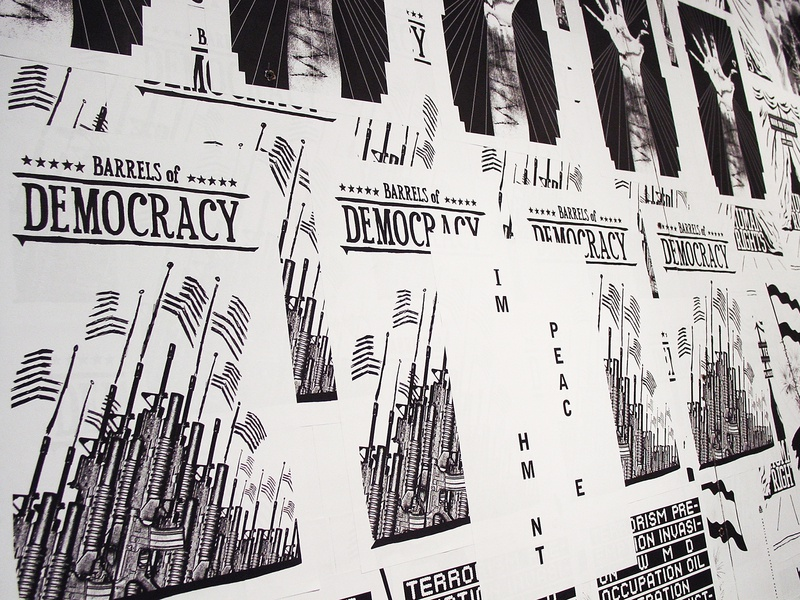 Paste Up For Peace activism politics black and white exhibition graphic design poster