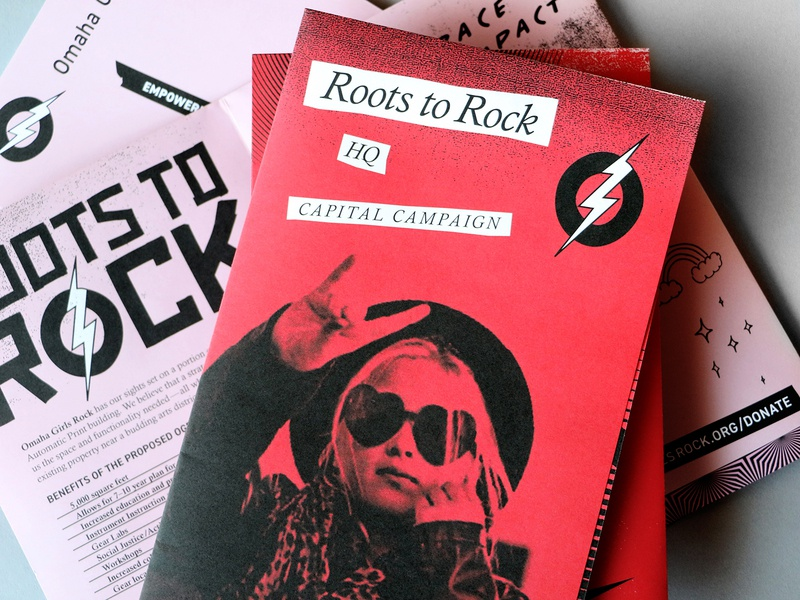 Roots to Rock lightning bolt tape punk rock graphic design direct mail omaha texture poster community nonprofit