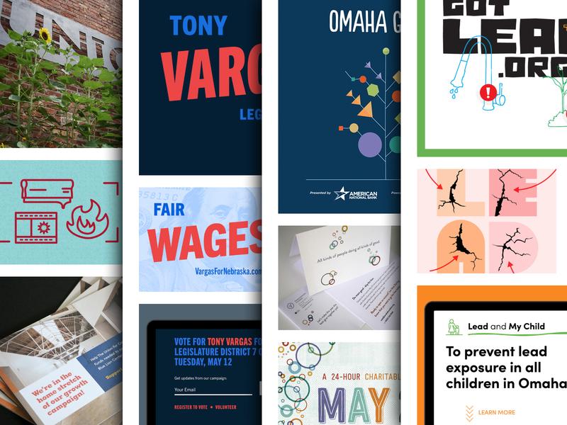 Recent Work branding design campaign omaha politics ui logo community nonprofit brand