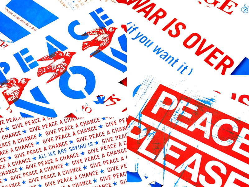 PEACE NOW type texture graphic design peace america stars stencil postcard screenprint