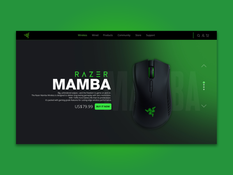 Razer Landing Page Concept identity uiuxdesign gaming accesories mousepad mouse user interface website design web website gaming website gaming razer design landing page uiux ux ui design