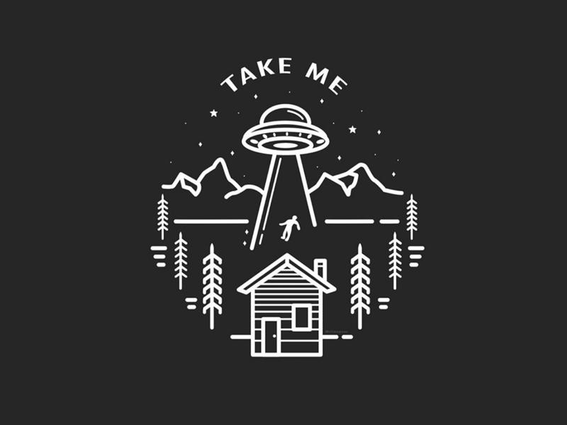 Take Me UFO illustrator illustration branding flat design badge design ufo alien vector vector graphics graphic design design