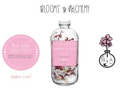 Blooms & Alchemy Branding typography brand identity illustration packagedesign labeldesign graphic design custom logo designs logo branding