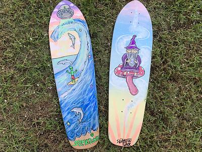 Skateboard Deck Paintings graphic design illustration board design skateboard design acylic paints acylic skateboard art painting