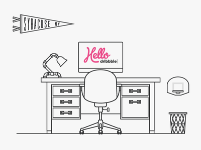Hello Dribbble debut syracuse pennant desk lamp illustration workspace