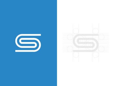 Personal S Mark single stroke grid process mark s logo identity personal
