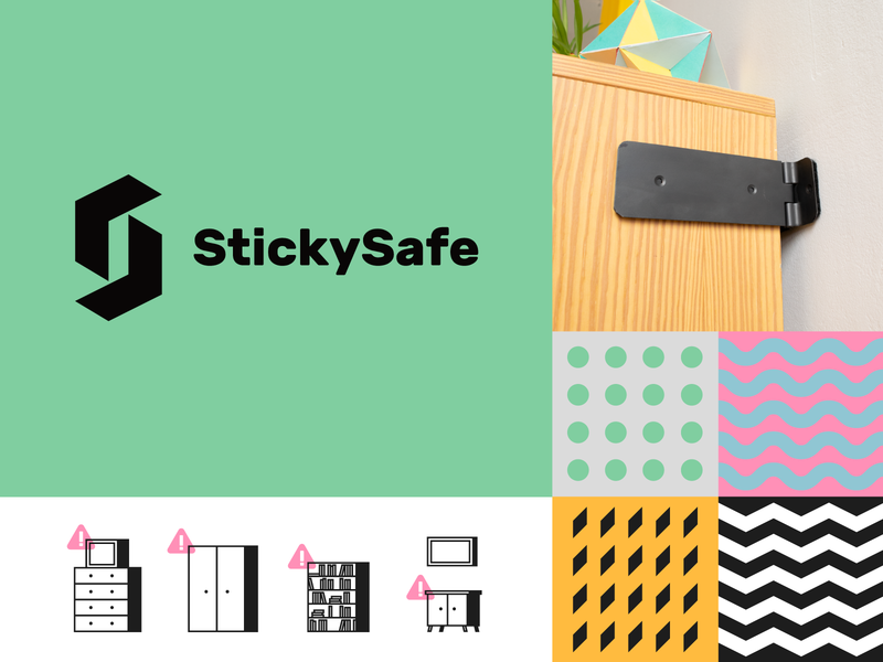 StickySafe patterns product safety modern simple logo identity illustration branding