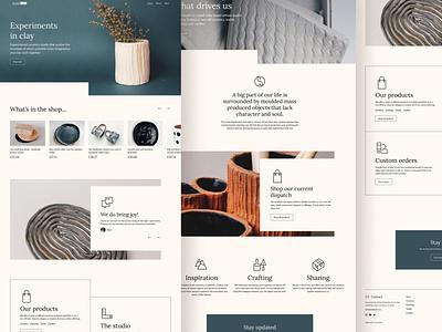 Azad studio homepage minimalist shop pottery ceramics website