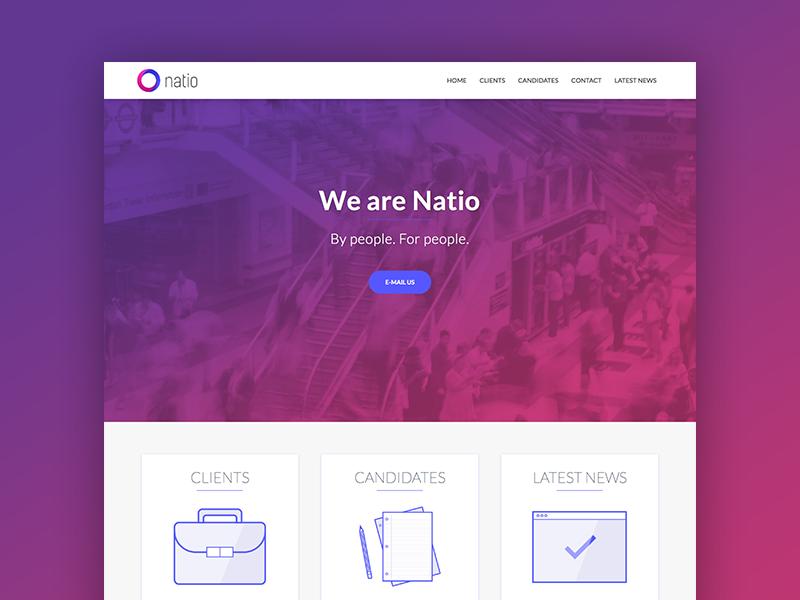Natio pink purple page landing natio website
