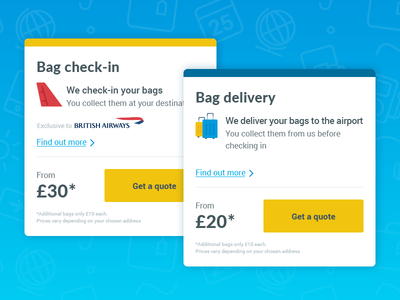 Product Segmentation check in bag cards