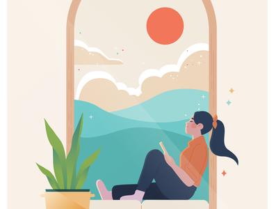 By the window vector style frame digital female editorial illustrator minimalist illustration design