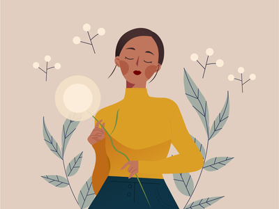 Serenity Illustration Series yellow vector illustrator plant dandelion design woman poc female minimalist flower editorial debut first shot style frame illustration