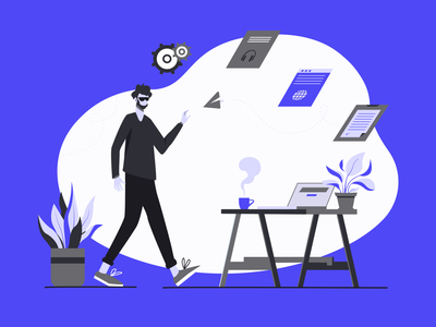 time for work concept plants laptop shape violet blue minimal clean web business office working space work colors character design graphic illustration art vector
