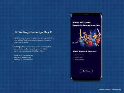 Daily UX writing challenge. Day 2 uxwriting ipl cricket sports app promotion mobileapp mobile uidesign uxdesign