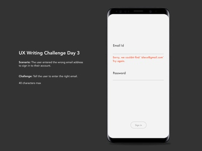 Daily ux writing challenge - Day 3 microcopy content uxwriting uidesign uxdesign