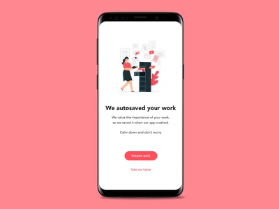 Recovery screen error page uidesign uxdesign app mobile uxwriting ux design uxui ux