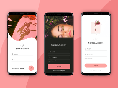 Sign in / Login Screen bodycare beauty salon qatar beauty product beauty app saloon uidesign ui home signup signin login