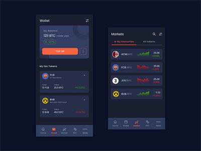 Dark mode - Crypto exchange wallet markets exchange light mode dark socios crypto design app uxdesign ux uidesign ui