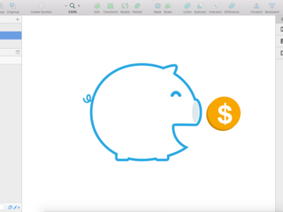 Saving money outline line icon gold coin money pig saving