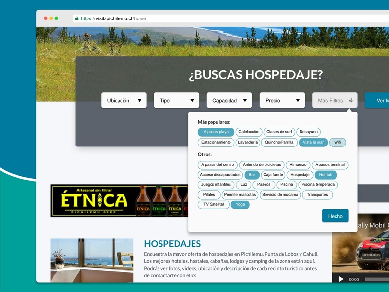 Visitapichilemu.cl search bar holidays website holidays web website ux ui user interface filter bar filter touristic tourist search bar